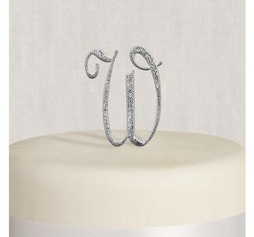 Rhinestone Silver Monogram W Cake Topper