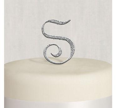 Rhinestone Silver Monogram S Cake Topper