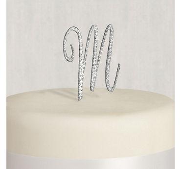 Rhinestone Silver Monogram M Cake Topper