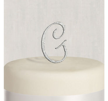 Rhinestone Silver Monogram G Cake Topper