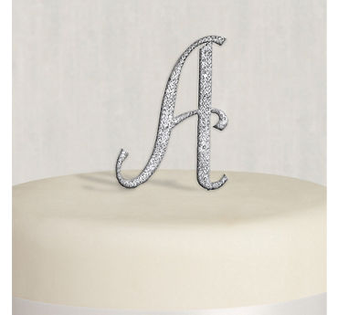 Rhinestone Silver Monogram A Cake Topper