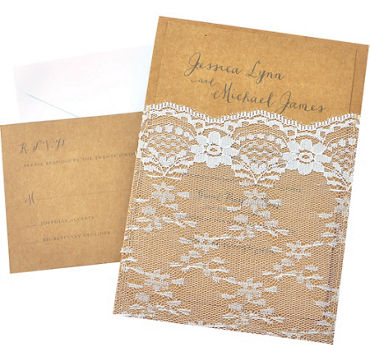 Kraft Lace Pocket Printable Wedding Invitations Kit 25ct