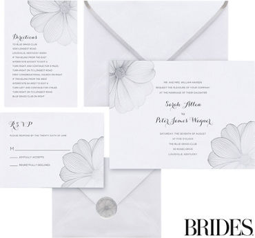 Metallic Silver Flower Printable Wedding Invitations Kit 30ct