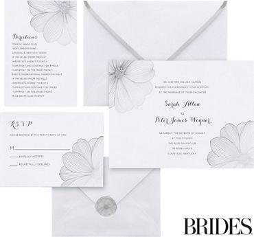 Metallic Silver Flower Printable Wedding Invitations Kit 30ct
