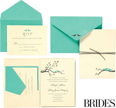 Teal Love Birds Jacket Printable Wedding Invitations Kit 30ct