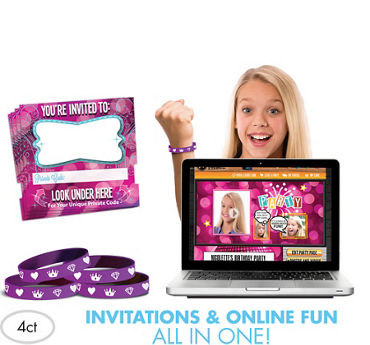 Princess Invite Bandz Online Party Invitation Wristbands Add-On Pack for 4
