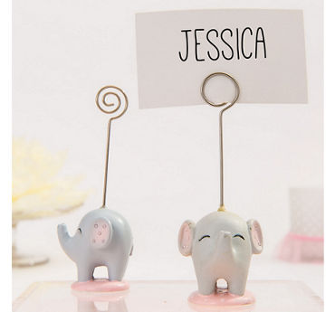 Pink Baby Elephant Place Card Holder