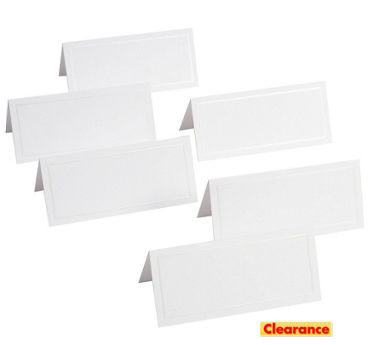 White Pearlized Border Printable Place Cards 48ct