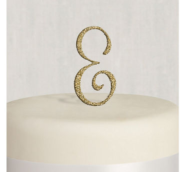 Rhinestone Gold Monogram E Cake Topper