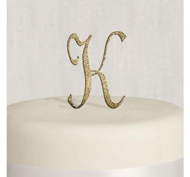 Rhinestone Gold Monogram K Cake Topper