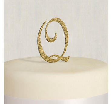 Rhinestone Gold Monogram Q Cake Topper