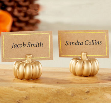 Gold Pumpkin Place Card Holders 6ct