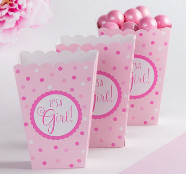 Pink It's a Girl Baby Shower Popcorn Boxes 20ct