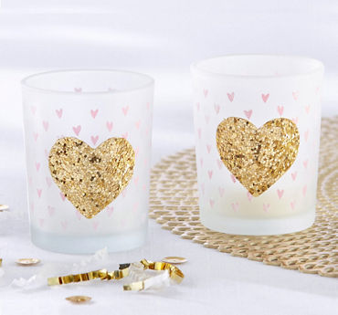 Gold Glitter Heart Tealight Candle Holders