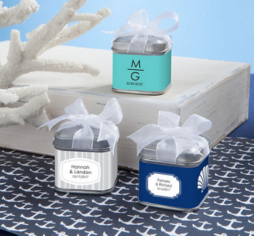 Personalized Wedding Favor Tins with Bows (Printed Label)