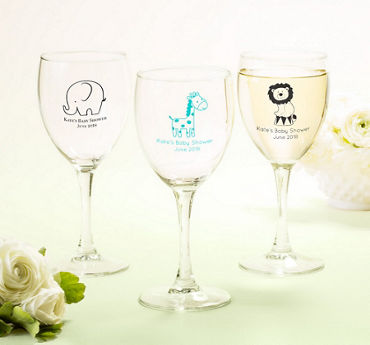 Generic Baby Personalized Baby Shower Wine Glasses (Printed Glass)