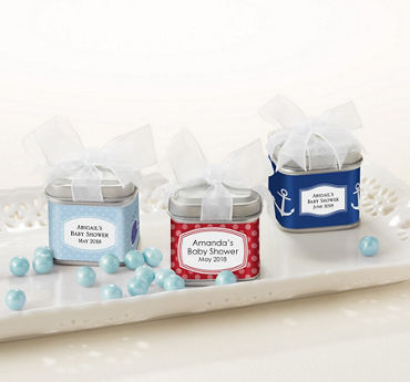 Personalized Baby Shower Favor Tins with Bow