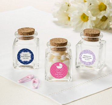 Baby Girl Personalized Baby Shower Small Glass Bottles with Corks (Printed Label)