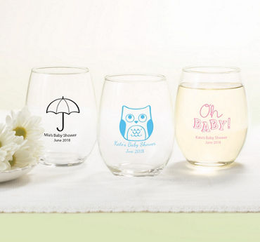Gender Neutral Personalized Baby Shower Stemless Wine Glasses 15oz (Printed Glass)
