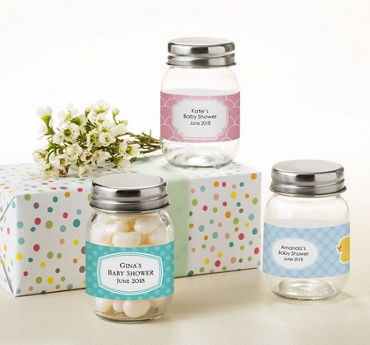Gender Neutral Personalized Baby Shower Mini Glass Mason Jars (Printed Label)
