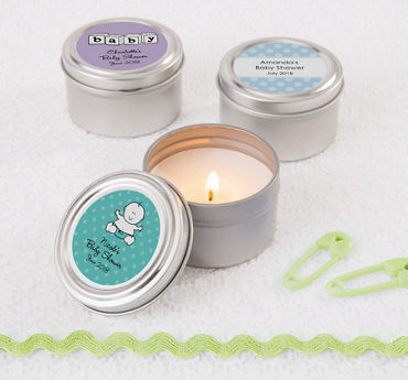 Gender Neutral Personalized Baby Shower Candle Tins (Printed Label)