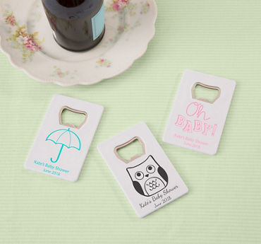 Gender Neutral Personalized Baby Shower Credit Card Bottle Openers - White (Printed Plastic)
