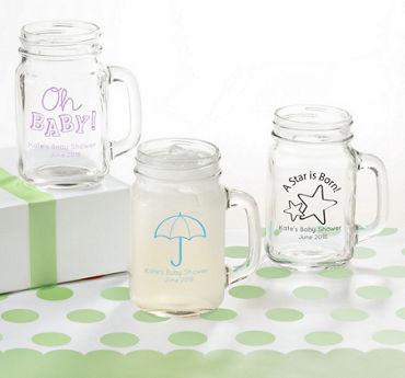 Gender Neutral Personalized Baby Shower Mason Jar Mugs (Printed Glass)