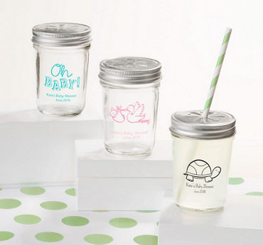 Gender Neutral Personalized Baby Shower Mason Jars with Daisy Drink Lids (Printed Glass)