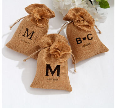 Personalized Burlap Favor Bags (Printed Fabric)
