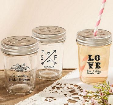 Personalized Mason Jars with Daisy Lids  (Printed Glass)