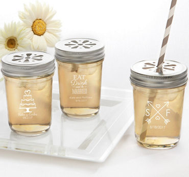 Personalized Mason Jars with Daisy Drink Lids (Printed Glass)