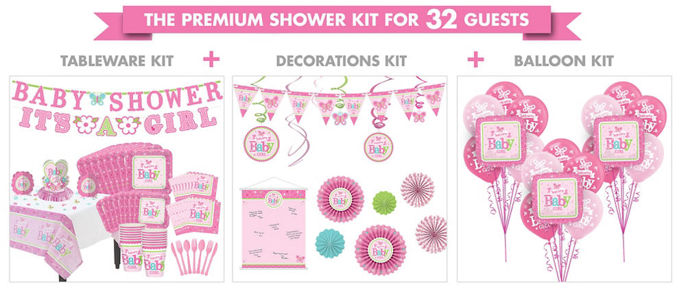 Welcome baby girl baby shower party supplies party city for Baby full moon party decoration