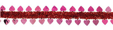 Pink Heart Red Tinsel Garland 15ft