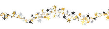 Black, Gold & Silver Star Wire Garland 12ft