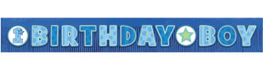 Glitter Fringe Boy 1st Birthday Banner 9ft x 11 1/4in