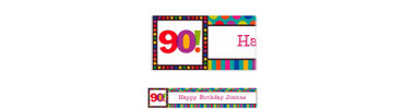 Birthday Dots & Stripes 90 Custom Banner 6ft