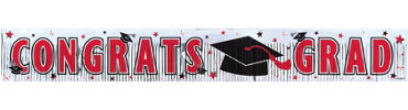 Red Foil Fringe Graduation Banner 65in