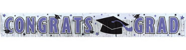 Purple Foil Fringe Graduation Banner 65in