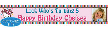 Hello Kitty Balloon Custom Photo Banner 6ft
