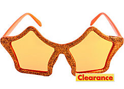 Glitter Orange Star Glasses