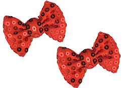 Red Sequin Hair Bows 2ct