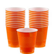 Orange Plastic Cups 20ct