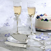 Silver Heart Wedding Toasting Glasses and Server Set