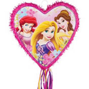 Pull String Heart Shaped Disney Princess Pinata 17in