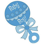 Baby Boy Rattle Glitter Cutout 13in