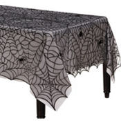 Midnight Lace Fabric Halloween Tablecloth 84in