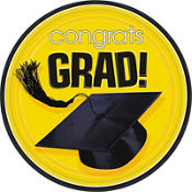 Congrats Grad Yellow Graduation Lunch Plates 18ct