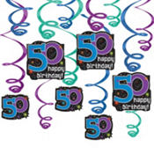 The Party Continues 50th Birthday Dangling Cutouts 3ct