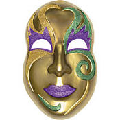 3D Gold Mardi Gras Mask Decoration 21in