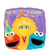 Foil Sesame Street 1st Birthday Balloon 18in